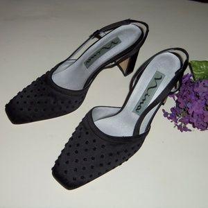 Nina black dressy satin slingback heels 7.5